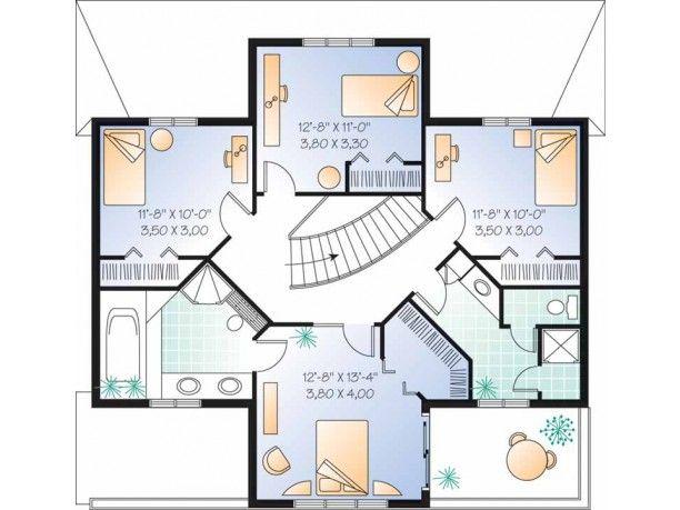 Plano planta alta casa italiana con 2 1/2 baños