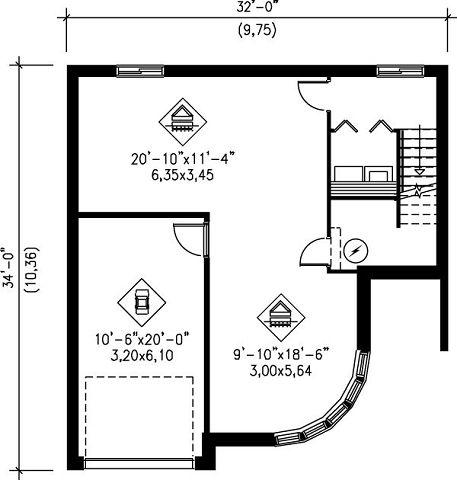 Planos casa moderna con 2 dormitorios y garaje para 1 vehiculo for Plano casa 2 dormitorios