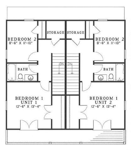 Plano planta alta de duplex con 2 habitaciones