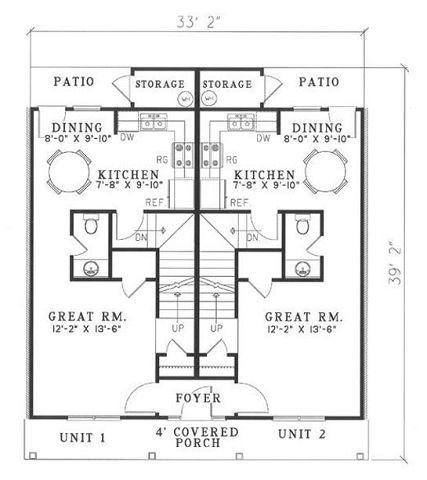 Plano planta baja de duplex tradicional
