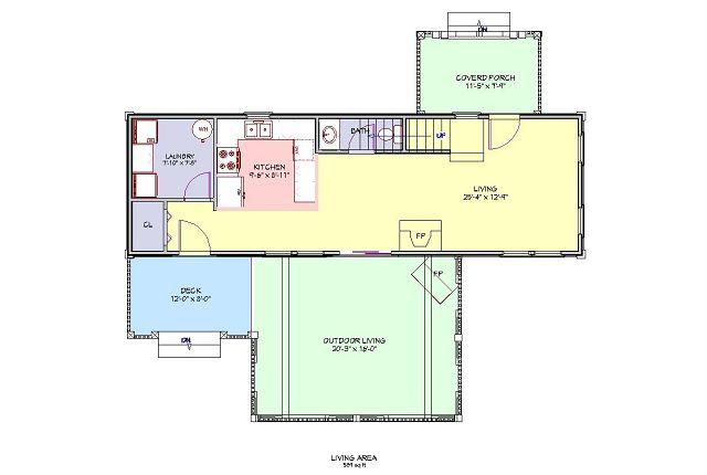 Plano casa de montaña de dos pisos - Plano principal