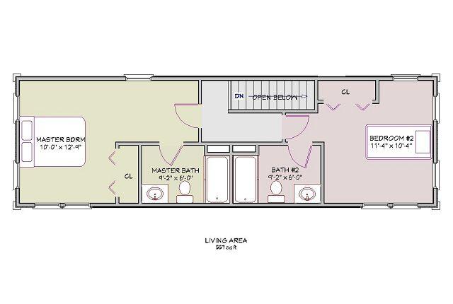 Plano de casa de montaña de dos pisos - Primer piso