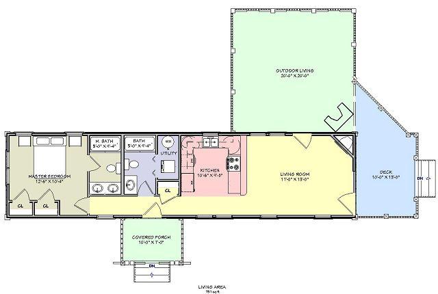 Planos de Casa de campo con pórtico trasero