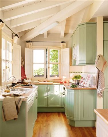 cocina chica verde