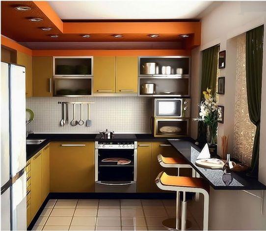 cocina pequeña naranja