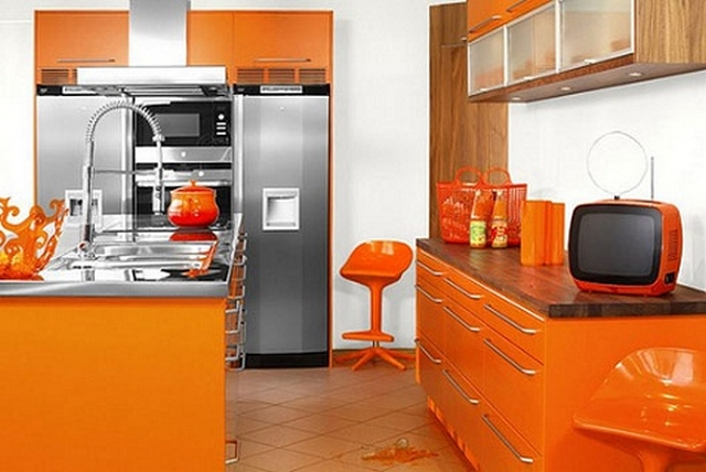 Cocinas en color naranja