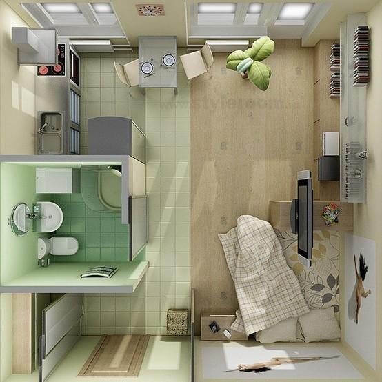 plano de apartamento amueblado y decorado decoraci n de On diseño de apartamentos para estudiantes