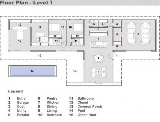 Plano de casa alargada con 3 dormitorios