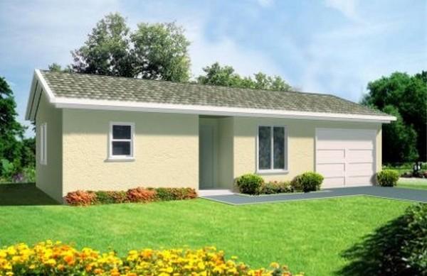 Plano de casa con 1 dormitorio y garaje for Casa clasica procrear 1 dormitorio