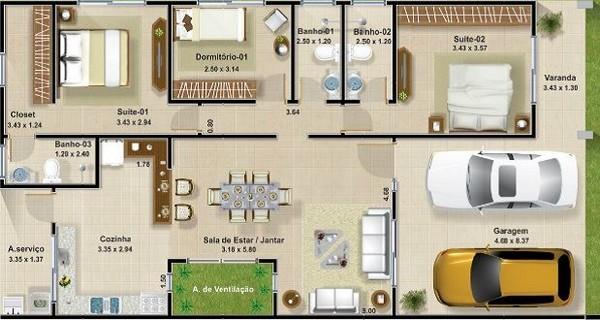 Plano de casa con doble cochera 2