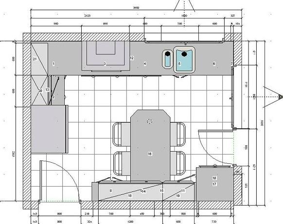 Planos modernos de cocinas de apartamentos for Medidas modulos cocina