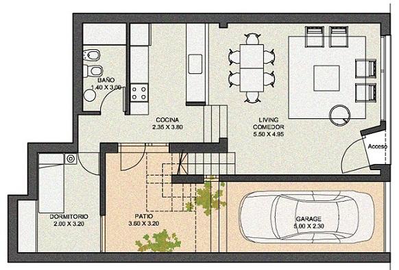 Planos modernos de living comedor for Planos de cocinas grandes