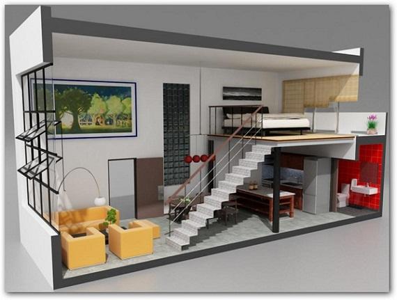 Planos modernos de living de apartamento for Diseno de apartamentos para estudiantes