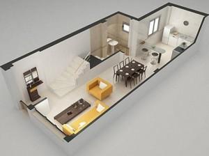 Planos modernos de living grande for Diseno de apartamentos de 45m2