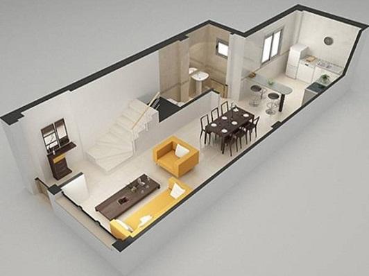 Planos modernos de living grande for Diseno apartamentos duplex pequenos