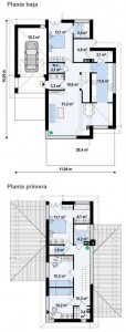 plano de casa de 2 pisos