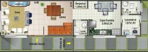 plano de casa de 3 dormitorios