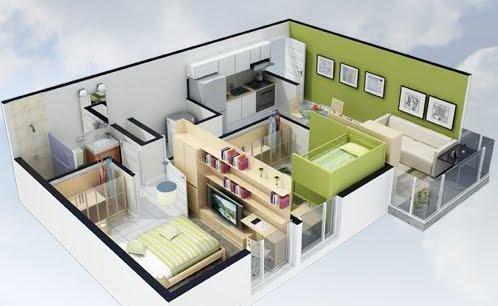 Planos de casas en 3d for Modelo de casa para 4 personas
