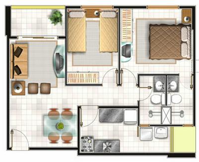 Planos para viviendas econ micas for Casa moderna 1 dormitorio procrear